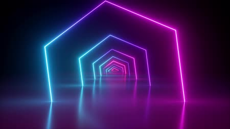 flight through spinning hexagonal corridor, glowing tunnel, pink blue neon light, abstract background, 80s retro style, k pop music stage, fashion podium, hexagons rotating, looped animation Dostupné videozáznamy