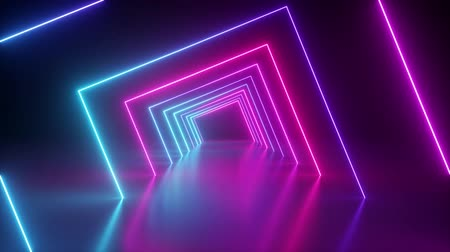 bab : spinning around neon tunnel, blue pink light, moving fashion podium, abstract background, rotating frames, virtual reality, glowing lines, seamless animation Stock mozgókép