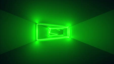 flight through endless corridor, green neon light, glowing lines, frames, abstract neon background, virtual reality interface, moving inside tunnel Stock mozgókép