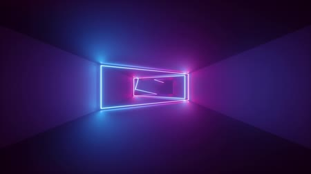 3d render, abstract geometric background, fluorescent ultraviolet light, glowing neon lines rotating inside tunnel, blue red pink purple spectrum, rectangular frames, looped animation