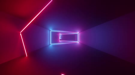 3d render, abstract geometric background, fluorescent ultraviolet light, glowing neon lines rotating inside tunnel, blue red pink purple spectrum, shapes spinning around, looped animation