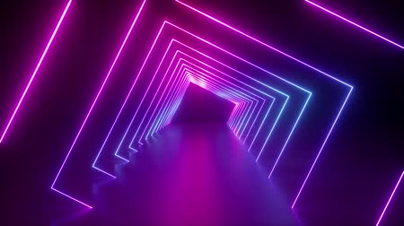 подиум : spinning around neon tunnel, blue pink light, moving fashion podium, abstract background, rotating frames, virtual reality, glowing lines, seamless animation Стоковые видеозаписи