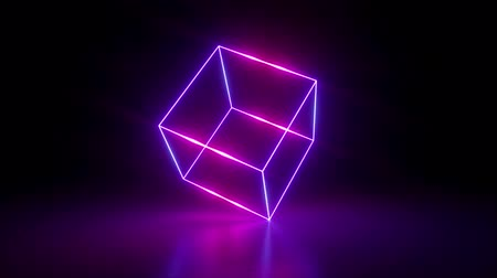 3d render, abstract geometric background, fluorescent ultraviolet light, glowing neon lines rotating, blue red pink purple spectrum, spinning around cube, modern colorful illumination, 4k animation Stock mozgókép