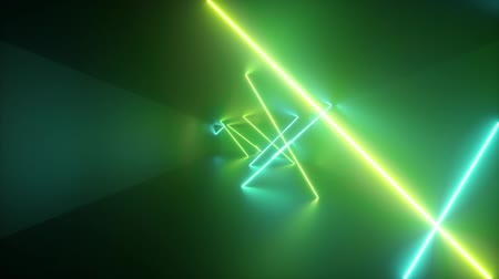 obdélníkový : neon green lines, spinning inside endless tunnel, long corridor, glowing rays, fluorescent light, fashion podium, music laser show, looped, seamless animation