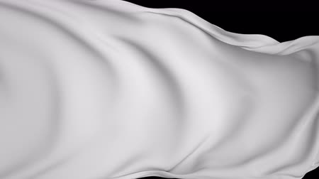 transitions : white flag, textile background, waving flag flying away, isolated on black screen chroma key, drapery ripples, wavy fashion background, unveiling, cloth falling