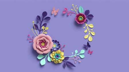 wzorki : 3d rendering, growing paper craft floral wreath, botanical background, blooming paper flowers, round frame, blank greeting card, candy pastel colors, bright hue palette, 4k animation