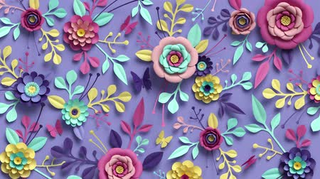 3d rendering, loop animation of floral background, turning paper flowers, botanical pattern, papercraft, candy pastel colors, bright hue palette Dostupné videozáznamy