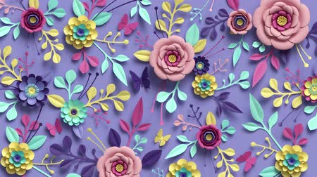 3d rendering, animation of growing floral background, blooming paper flowers, botanical pattern, papercraft, candy pastel colors, bright hue palette