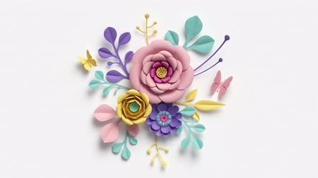 flowers background : paper flowers growing, appearing, pastel color botanical background, decorative bouquet, round composition, paper craft, diy project, intro, isolated on white background