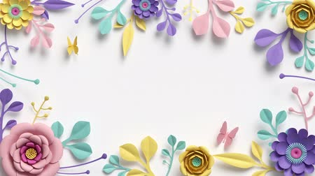 duvar kağıdı : paper flowers growing, appearing, botanical background, decorative frame, blank space for text, paper craft, diy project, intro, isolated on white background