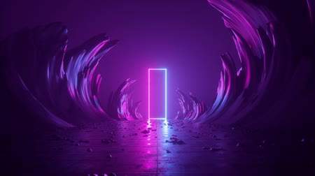 drzwi : 3d abstract background, neon light, extraterrestrial landscape scene, meteor shower, falling stars, flight forward through corridor of rocks, virtual reality, outer space, speed of light, fireworks