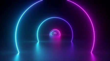 3d render, flight inside tunnel, neon light abstract background, round arcade, portal, rings, circles, virtual reality, ultraviolet spectrum, laser show, fashion podium, stage, floor reflection Dostupné videozáznamy