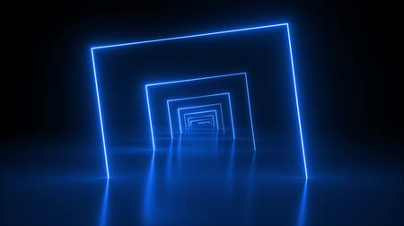 flight through neon tunnel, blue light, moving fashion podium, abstract background, spinning frames, virtual reality, glowing lines Wideo