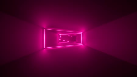 flight through endless corridor, pink neon light, glowing lines, frames, abstract neon background, virtual reality interface, moving inside tunnel Dostupné videozáznamy