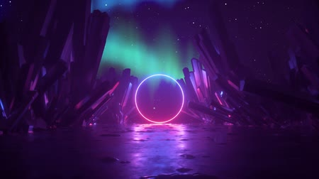 3d abstract background, mysterious cosmic landscape, neon light ring shape, flight back through corridor of rocks, outer space anomaly, virtual reality, aurora borealis in night sky