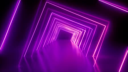 spinning around neon tunnel, violet pink light, moving fashion podium, abstract background, rotating frames, virtual reality, glowing lines, seamless animation