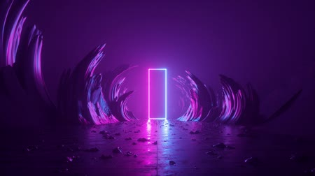 ultraviolet : 3d abstract background, neon light, flight backward through corridor of rocks, extraterrestrial landscape anomaly, virtual reality, outer space panorama, ultraviolet spectrum, paranormal phenomenon