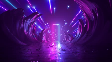 3d abstract background, neon light, cosmic landscape, meteor shower, falling stars, flight forward through corridor of rocks, virtual reality, outer space, celestial panorama, extraterrestrial anomaly