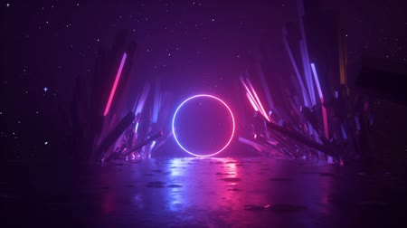 неон : 3d abstract background, neon light ring shape, mysterious cosmic landscape, flight forward through corridor of rocks, virtual reality, outer space, celestial panorama, extraterrestrial anomaly