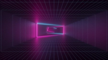 abstract background, neon light inside endless tunnel, flight forward, pink blue glowing lines, looped animation Dostupné videozáznamy