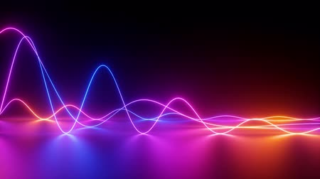 wavy neon lines, abstract background, equalizer, amplitude chart, ultraviolet spectrum, looped animation
