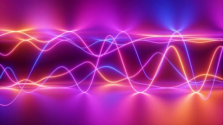 abstract neon wavy lines background, signal chart, equalizer, digital audio track, laser show, impulse power, energy, reflection, chaotic waves, looped animation Dostupné videozáznamy