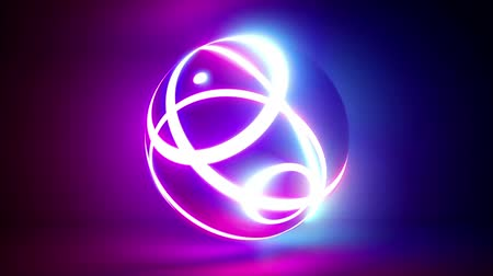3d render, abstract background with isolated ball illuminated with pink and blue neon light, ring ripples, seamless animation