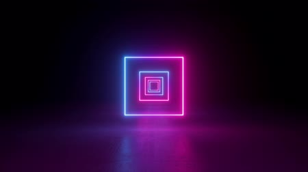 geometric : abstract neon background, flying back through rectangular corridor, long tunnel, appearing glowing pink blue square shapes, ultraviolet spectrum