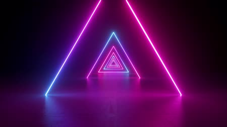 abstract neon background, flying forward through triangular corridor, tunnel, appearing glowing pink blue shapes, ultraviolet spectrum