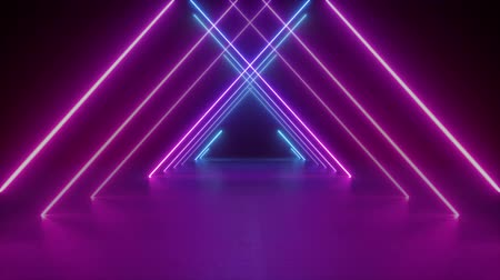 bab : abstract neon background, flight forward through triangular corridor, appearing glowing pink blue lines, ultraviolet spectrum