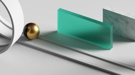 scenes : loop animation 3d glass balls rolling on twisted road. Computer generated seamless motion design of simple geometric shapes. Repeating movement. Live image, modern minimalist animated poster.