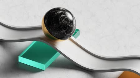 surrealismo : loop animation of 3d black marble ball rolling on white wavy road. Computer generated seamless motion design of simple geometric shapes. Repeating movement. Live image, modern animated poster.