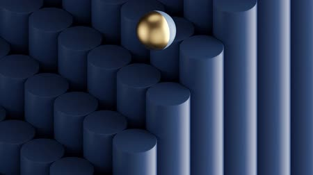 seamless minimal animation, golden ball jumping down stairs, blue cylinders, simple geometric shapes. Repeating movement. Looped background, live image, modern animated poster. Endless motion design.