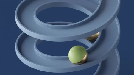 minimalist loop animation, golden balls rolling down the blue spiral, simple geometric shapes. Seamless movement. Looped background, repeating live image, modern animated poster. Endless motion design Dostupné videozáznamy