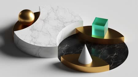 пьедестал : cyclic loop animation of simple geometric shapes, 3d cycled rotating marble podium, blank pedestal. Computer generated seamless motion design. Repeating movement. Live image, modern animated poster. Стоковые видеозаписи
