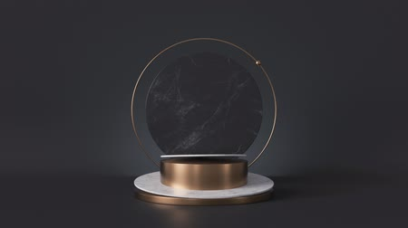 endless gold : cycled loop animation, white pedestal isolated on black background, looped rotating round marble stone slab, blank shop display, fashion podium, cylinder steps, abstract minimal spinner memorial board