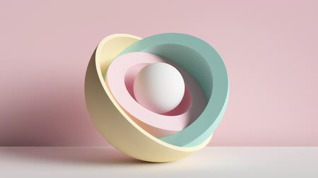 3d minimal motion design, ball hidden inside colorful hemispheres, layers opening. Simple geometric objects, primitive shapes isolated on pink background. Live image, modern animated poster. Dostupné videozáznamy