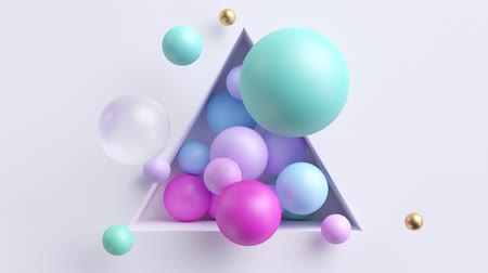 3d cycled loop animation of colorful balls floating inside white triangular niche. Seamless motion design. Pink and blue spheres shaking. Live image in pastel colors. Minimal modern animated poster.