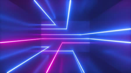 Violet neon abstract background. Seamless sliding glowing lines. Loop animation of geometric shapes. Computer generated motion design. Cycled movement. Live image, modern minimal animated laser rays