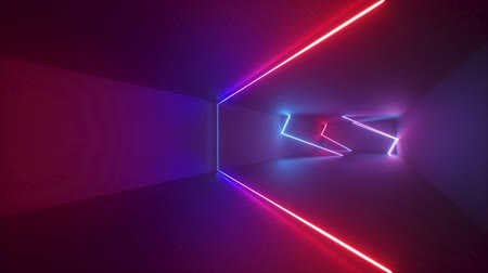 abstract neon background, moving forward endless tunnel. Loop animation. Ultraviolet light, glowing lines, virtual reality interface, frames, red blue spectrum, laser rays