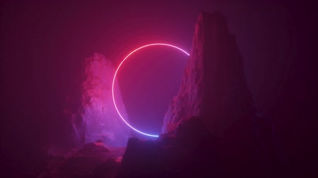 Abstract neon light background. Flight above foggy rock at night. Looped animation, seamless live image. Cosmic landscape, rotating terrain, ultraviolet spectrum, glowing laser ring