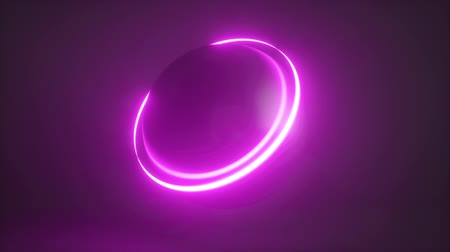 3d render, seamless abstract neon background, ball with glowing scanning ring. Modern minimal loop animation.