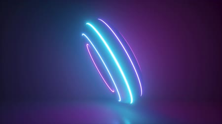 3d render, seamless animation of pink blue neon donut, abstract background with glowing torus shape, looped intro, scanning rings, laser show technology, ultraviolet spectrum