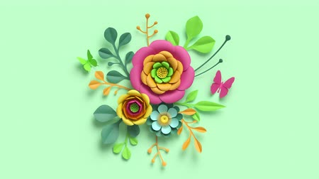 Festive botanical background. Colorful paper flowers and green leaves growing, appearing on pastel mint background. Decorative floral arrangement, round bouquet diy craft project