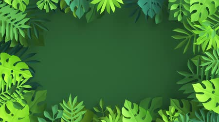 3d render, abstract paper tropical palm leaves waving isolated on green background, botanical wallpaper seamless animation, looped live image, jungle nature motion design, frame with copy space 무비클립