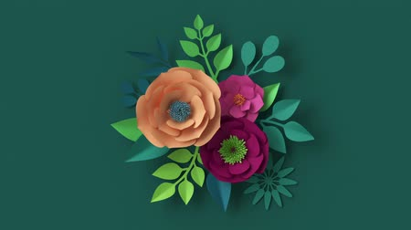 3d render, abstract floral arrangement appearing over dark green wall, botanical background animation, blooming live image, motion design, pink peachy orange paper flowers and green leaves growing