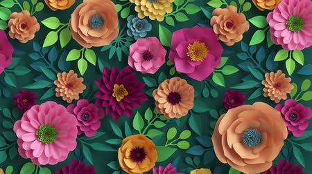 3d render, abstract pink peachy orange paper flowers appearing over dark green background, colorful botanical motion design, blooming live image, creative floral wallpaper 무비클립