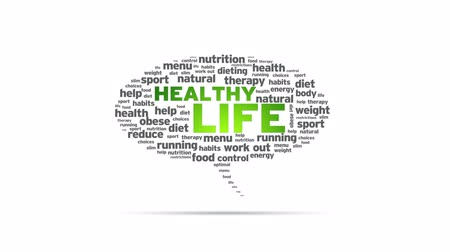 baixo teor de gordura : Healthy Life Speech Bubble Stock Footage