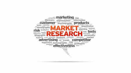 analisar : Animated rotating Market Research Speech Bubble on white background.