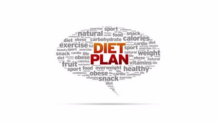 потеря : Animated rotating Diet Plan Speech Bubble on white background.